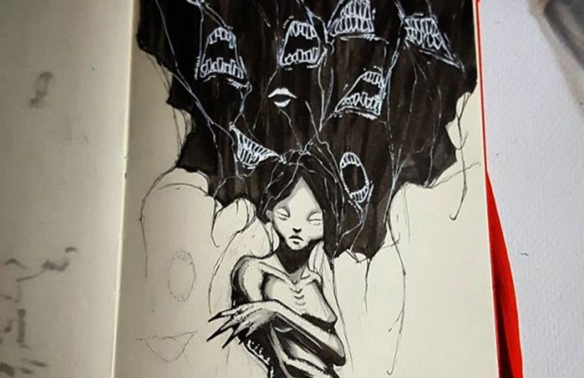 The artist has depicted mental disorders in a series of illustrations