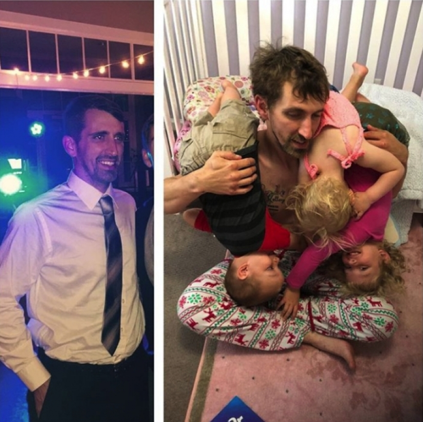 14 funny pictures of people before and after they became parents