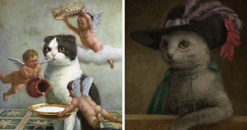 Cats are kings in the works of a talented Japanese artist, Tokujiro kawaii