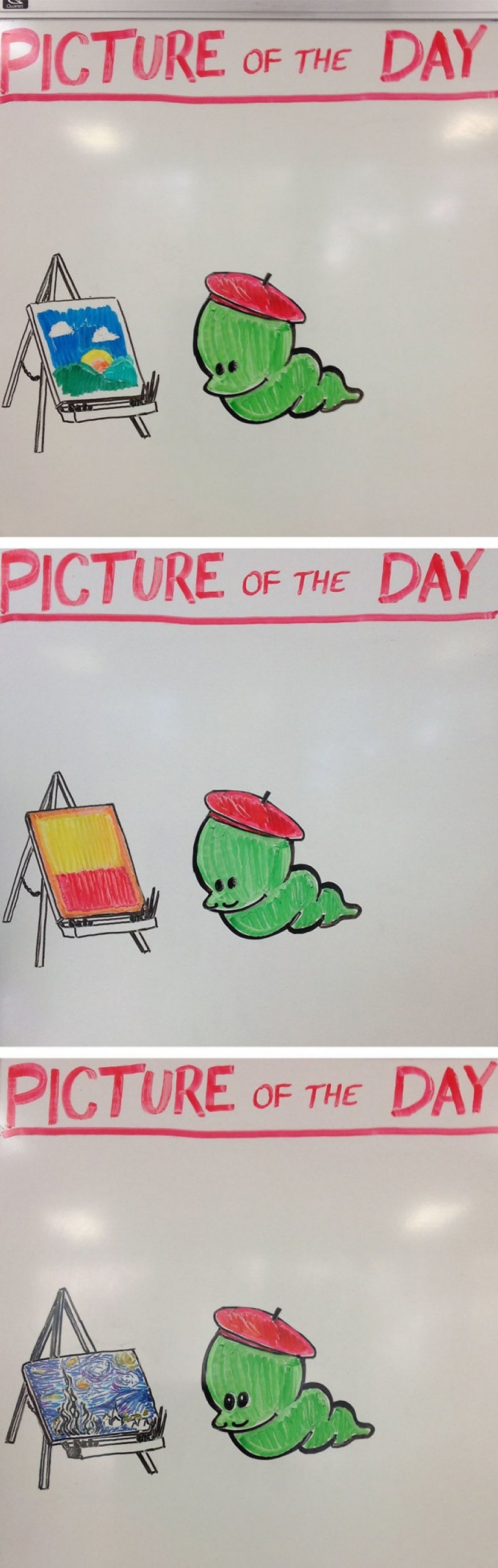 Creative history teacher every day draws pictures on the Board