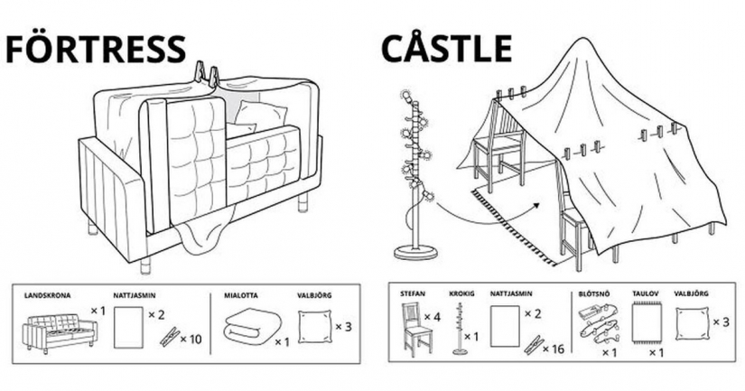 I'm in the house: 6 Fort building for kids from IKEA Russia
