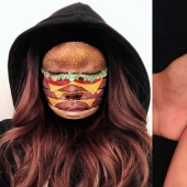 """I'm the person to eat"" the canadian make-up artist draws women's faces with burgers, rolls and pizza"