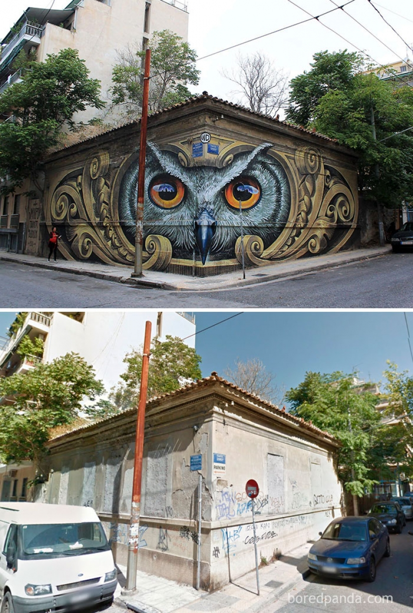 Incredible street art. Before and after