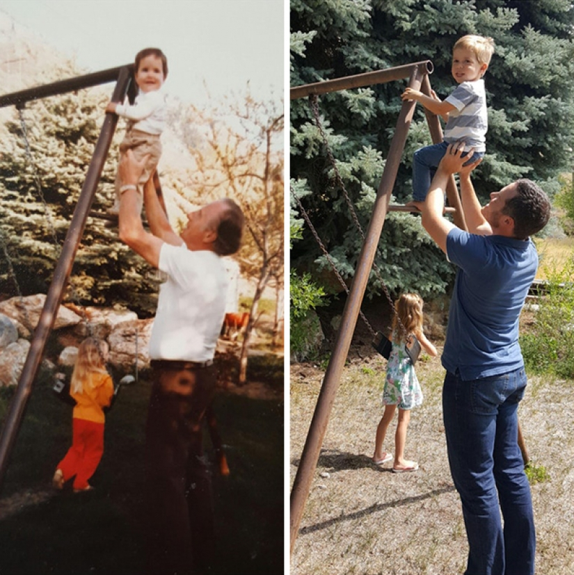Launch the time machine: 25 photos of grandparents, who recreated their grandchildren