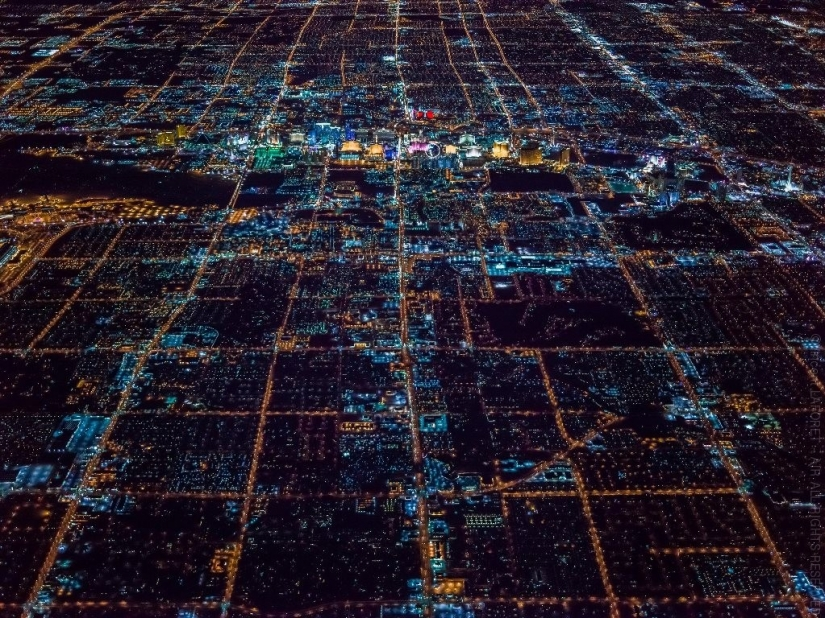 Night Las Vegas from a height