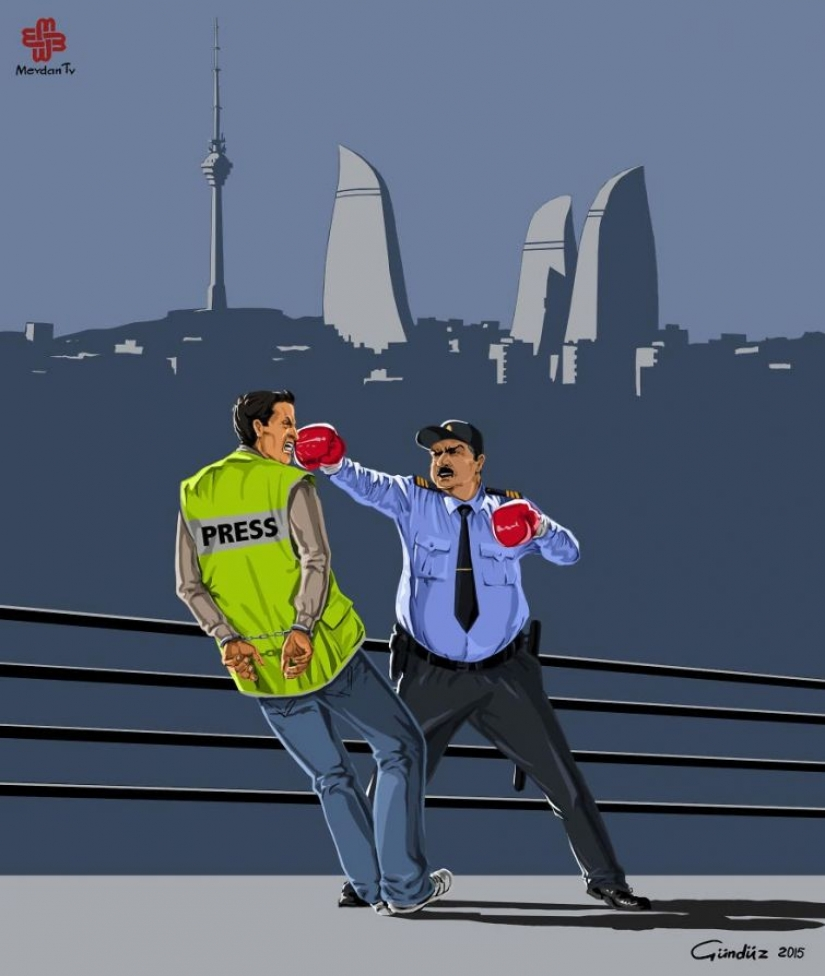 The Azerbaijani artist has depicted the true face of the world, police in the satirical illustrations
