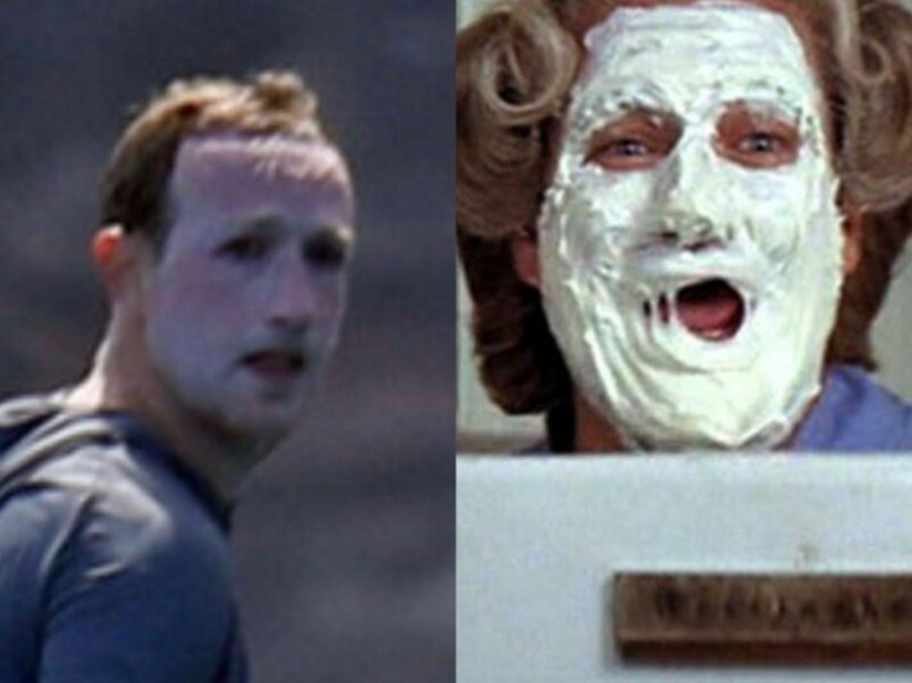 The Joker or the housewife? Network mock white face Mark Zuckerberg