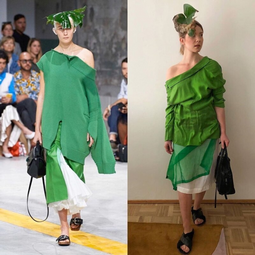 The quarantine style: fashion images from scrap materials