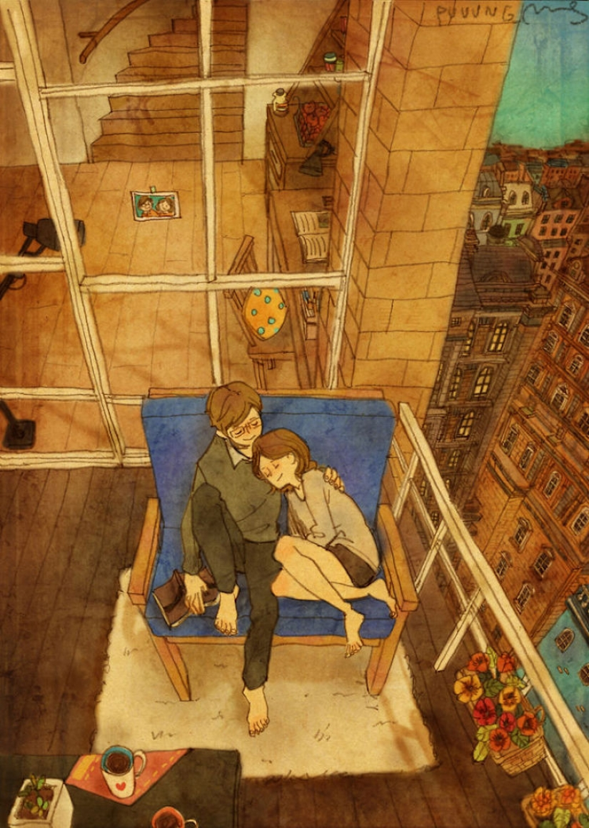 Warm watercolor illustrations about love from Korean artist