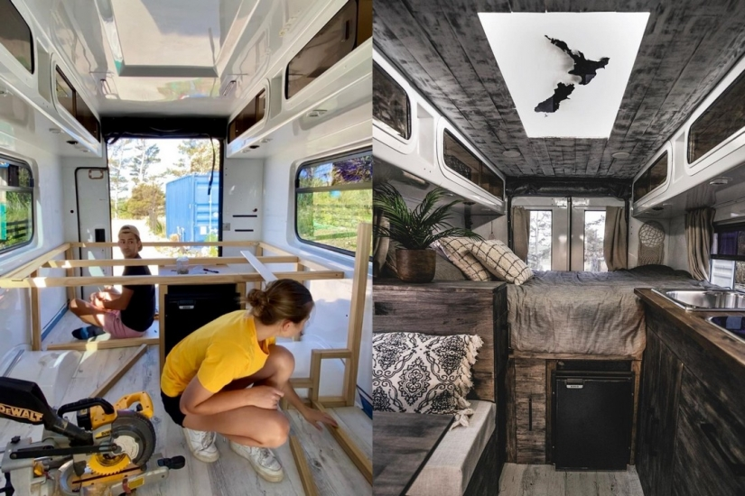 Couple turned an old ambulance into a chic home on wheels
