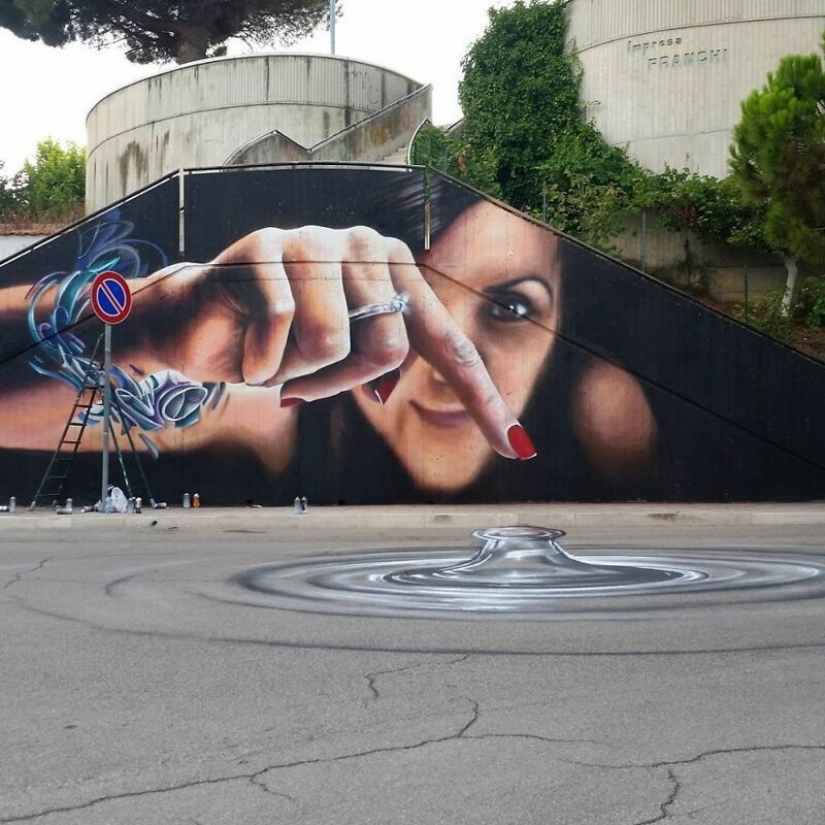 Interactive street art: the artist enters 3D paintings in the street